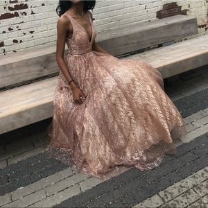 Rose gold Jovani Prom dress